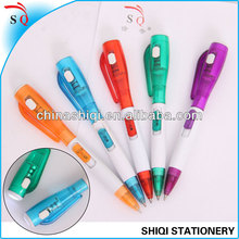 Promotional side click ball pen with side click Led light on top