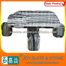 Black and while color Marble Polished Table & Chairs