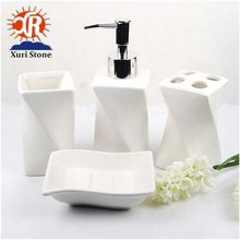 Home fashion accessories marble ceramic luxury bathroom set