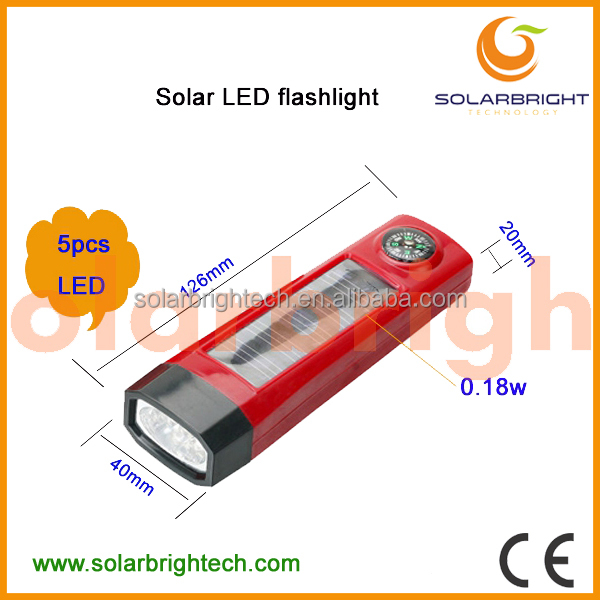 SOLARBRIGHT rechargeable waterproof led emergency aluminum solar power rechargeable mini led flashlight