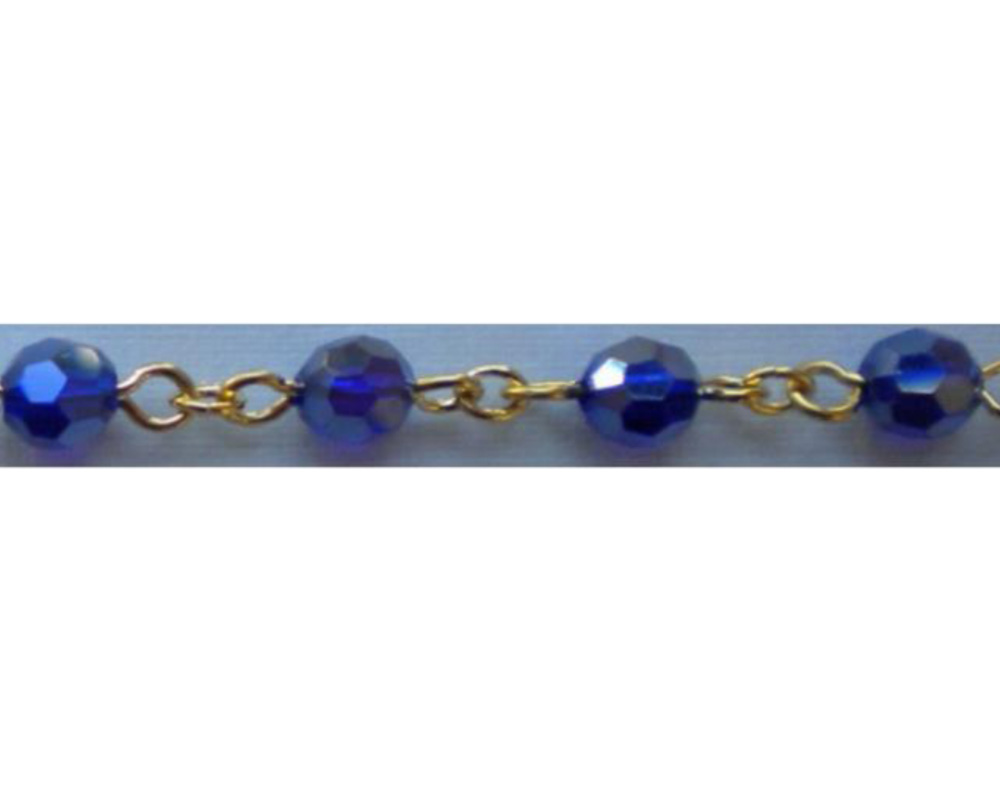 18k Gold Layered 6 MM AB BLUE BEAD ( Model No.966)- Chain by Inches / CM / Meter