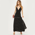 Star Foil Maxi Dress Women Maxi Dress V-neckline Maxi Dress