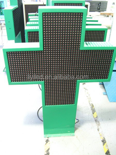 Pharmacies Products Outdoor Double Sided P16 Full Color LED Pharmacy 3D Cross / Noen Cross Sign