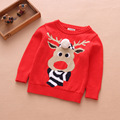 2018 new year cotton reindeer cartoon design boys and girls funny christmas pullover children sweater ugly