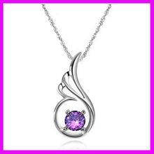 fashion silver purple rhinestone angel wing necklace for trendy women