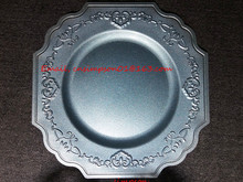 wholesale blue plastic charger plate
