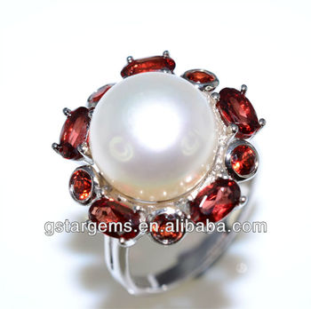925 Silver Jewelry Fresh Water Pearl Ring Natural Garnet Stone Real Good Rhodium Plated