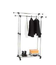 Double pipes metal extendable clothes hanger