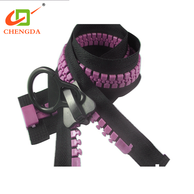 CHENGDA March Expo Finish Open End 15# Big Size Large Teeth Resin Plastic Zip Zipper