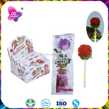 Rose fluorescent plastic glow stick lollipop candy with toy