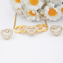 Wholesale high quality custom heart shape stainless steel jewelry set women necklace
