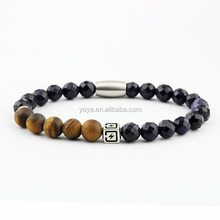 BN3012 fashion natural stone bead stainless steel magnetic clasp bracelet for men