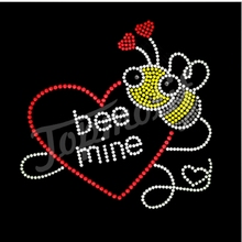 transfer iron on bee mine diamond investor with love rhinestone mesh