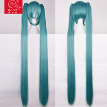 Japanese Cosplay Girls Two Long Straight Ponytail Halloween Cheap Costume Wig