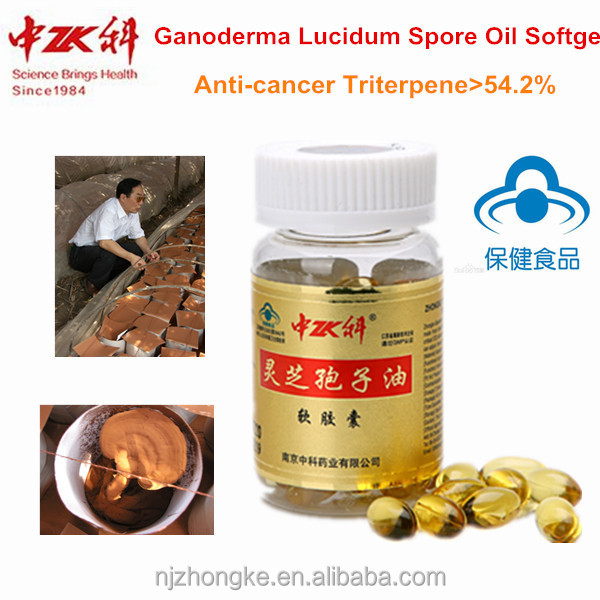 ISO Certificated Ganoderma Lucidum Extract Spore Oil Softgel Organic Gold Ganoderma