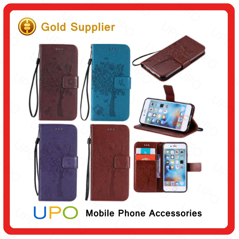 [UPO] New Arrival Luxury PU Leather Wallet Flip Cell Phone Case For Apple iPhone 6 6S 4.7 inch Card Slots Cover