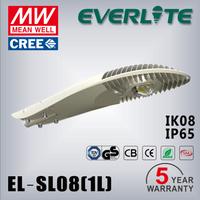 5 years warranty 50w-80w cob led street lamp 100 lm/w IP66 IK08 80w led street light