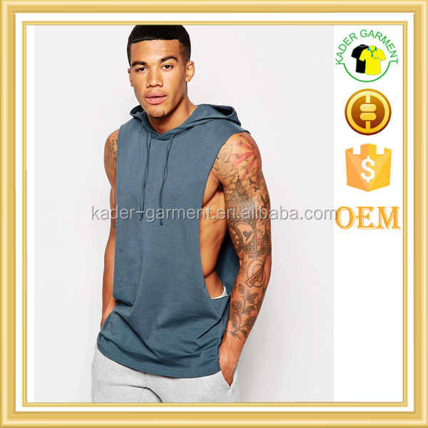 sleeveless t shirt with extreme dropped armhole and hood