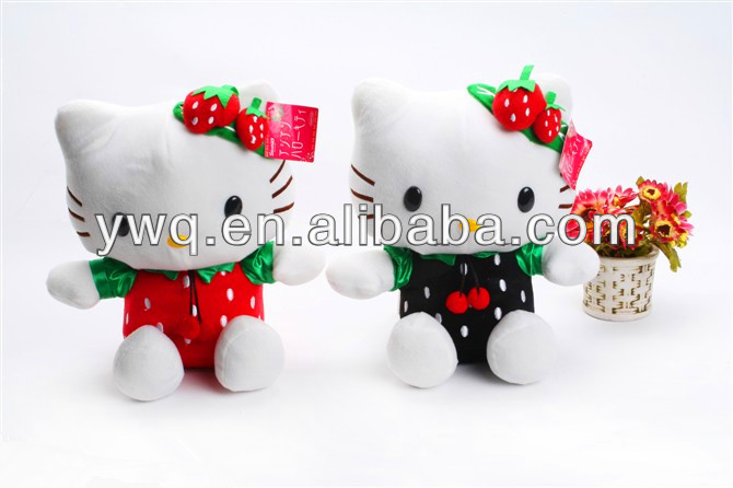 Various colour plush cute kitty cat with clothes stuffed soft with plush soft