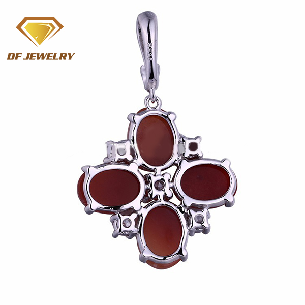 New!!!charming 925 sterling silver jewelry four milky glass gemstone flower pendant