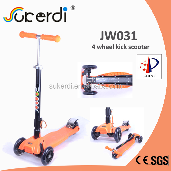 2014 new model patent product 4 wheeled foldable scooter stepper scooter