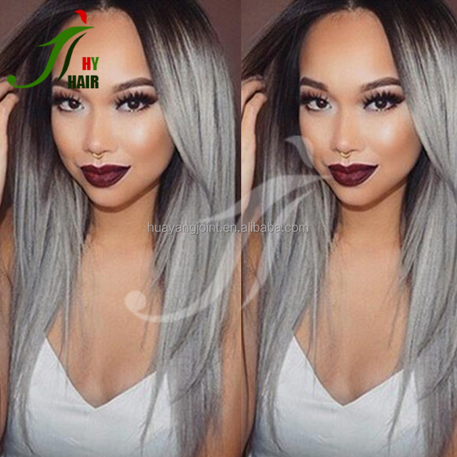 Free Shipping Brazilian Human Lace Front Wig Black Roots Grey Lace Front Wig Ombre Two Tone Gray Human Hair Wigs Middle Part