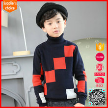 100% cotton turtleneck knitting patterns children sweater for boys