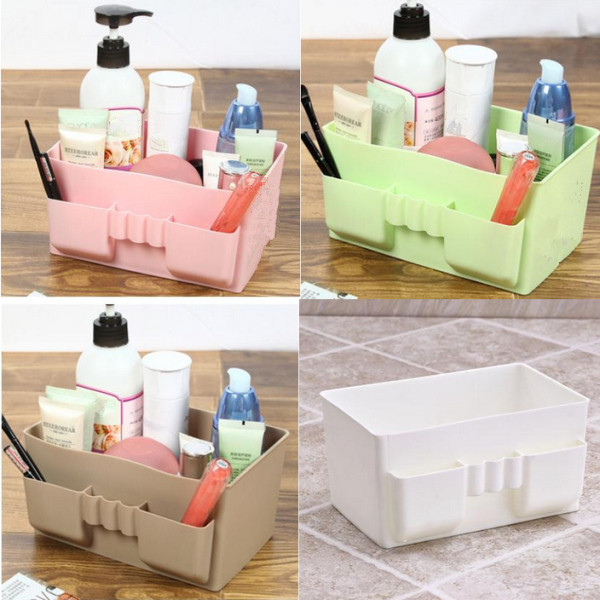 Hot Sale Multifunction Waterproof Plastic Sundry Desktop Makeup Cosmetic Storage Box Container Case Organizer 5 Color Random