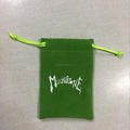 New design green jewellery velvet pouch with white logo