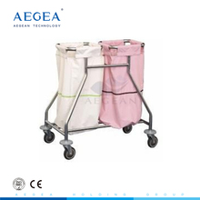 AG-SS019 2 linen bags medical patient room cleaning movable used waste trolley