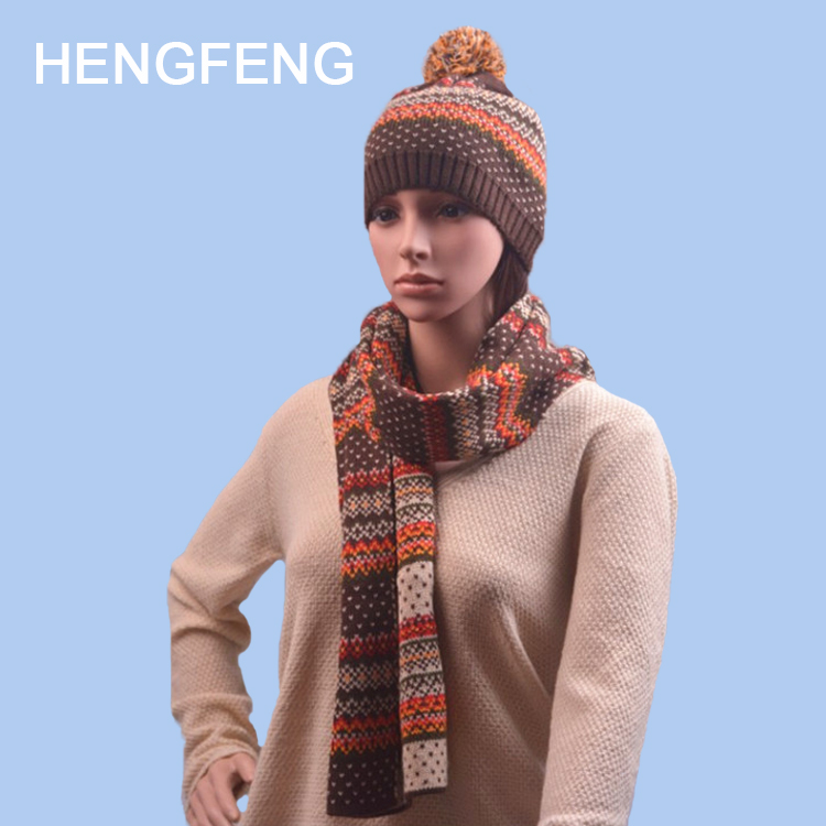 Latest Alibaba Chinese factory Cheap Acrylic Knitted Winter Warm Scarves Hat Gloves Sets