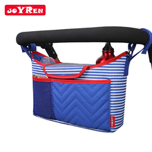Wholesale blue color striped baby stroller diaper organizer bag