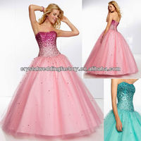 Sweetheart beaded sequined long girls customize 2014 princess puffy pink ball gowns CWFap5784