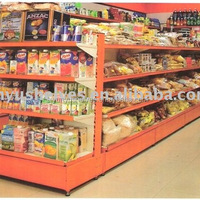 Guangzhou Supplier Orange Supermarket Glass Gondola