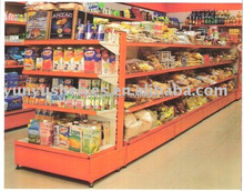 Guangzhou supplier Orange supermarket/glass gondola shelving