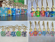 new Customized hanging car smell perfume bottle with polymer clay