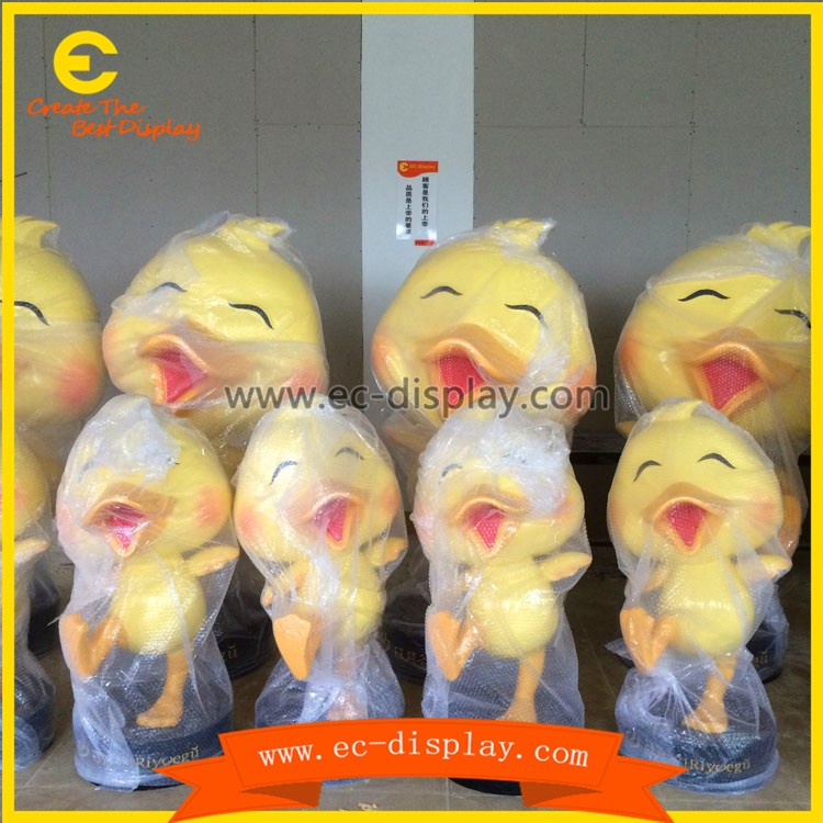 China supplier fiberglass resin craft figure of fake duck toy