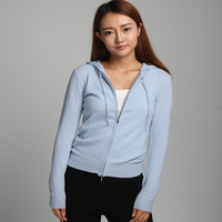 Best qualtiy cashmere fashion Classic lady's zip up sweater