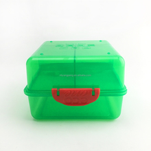 Folding bento 3 compartment plastic lunch box