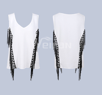 Adult Age OEM Supply Type White Sleeveless V Neck Chiffon Laides Blouses Summer Season Woman Clothes