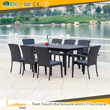 Lowest price black color garden outdoor wicker rattan cube dining table with glass top and chair