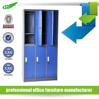 6 door lockable blue hanging clothes metal change room locker