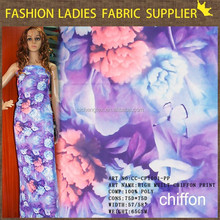 wholesale print purple chiffon material