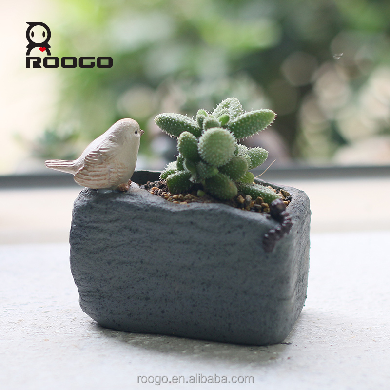 Roogo bird Imitation stone shape serie 6 indoor flower pot for garden decor