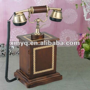 Antique brass wood telephone