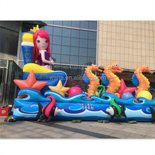 ocean theme decoration inflatable mermaid with seahorse and small colorful fishes