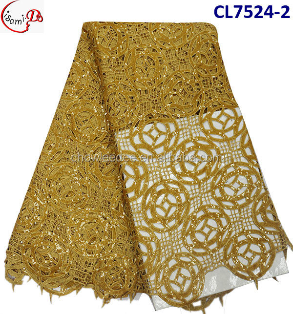 CL7524 Most popular chowleedee gold coin pattern cord lace korean lace fabric with sequinse/heavy cord sequins lace fabric