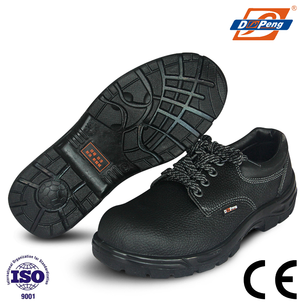 DP704 standing type durable black embossed leather safety boots