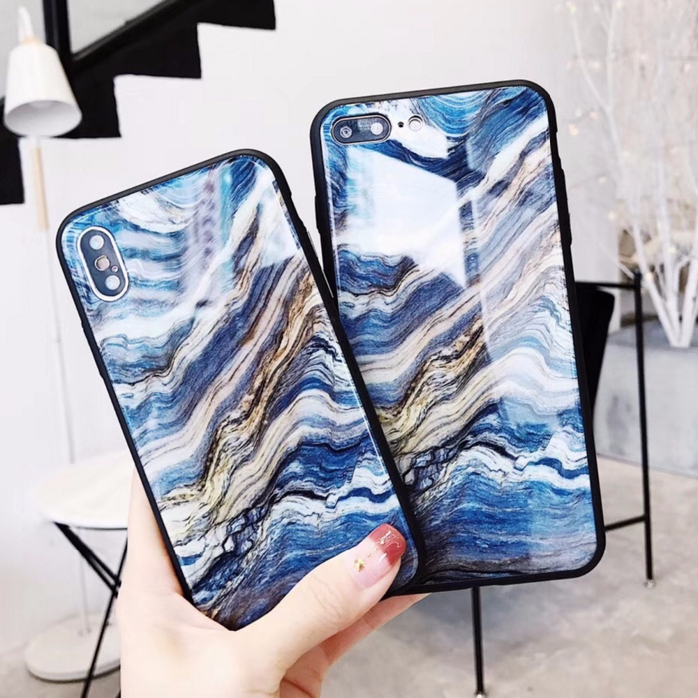 Glossy Marble Design Custom TPU Mobile Cover for iPhone X 8 7 6 6s Plus 9H Tempered Glass Phone Case