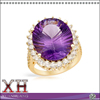 14K Yellow Gold Plated Sterling Silver Diamond Amethyst Cocktail Ring